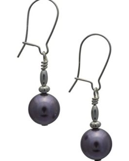 Mauve Purple Glass Pearl Sterling Silver Drop Earrings with Gift Box