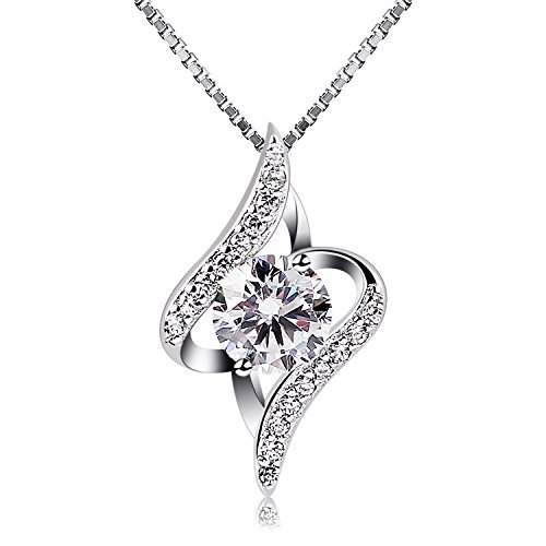 Women Sterling Silver Crystal Pendant Necklace, Gifts for women