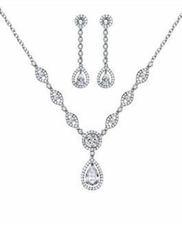GULICX AAA Cubic Zirconia CZ Women\s Jewelry Set Wedding Necklace Earrings Set Silver Tone