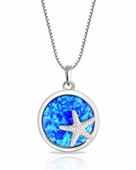 Round Circle Disc Nautical Ocean Lover Blue Created Opal Inlay Starfish Pendant Necklace For Women 925 Sterling Silver