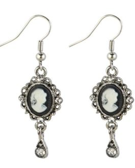 Retro Vintage Black and White Cameo Drop Earrings