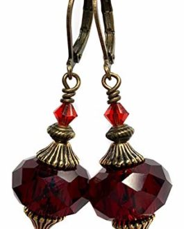 Black Moon® Dark Red Gothic Victorian Oriental Style Antique Gold Brass Lever Back Earrings
