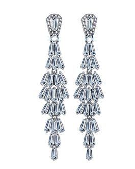 DBG 925 Sterling Silver Vintage Dangle Earrings for Women,Crystal with Swarovski Elements,Tiered Dangle Drop,Gift and Card Packaging