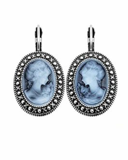 Lady Queen Earrings For Women Vintage Look Antique Silver Plated Fashion Jewelry
