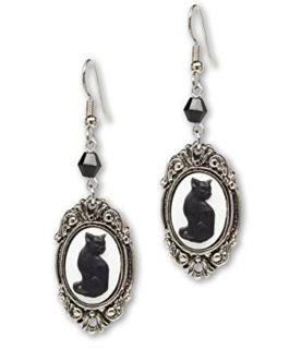 Black Cat Cameo Dangle Earrings In Silver Finish Frame
