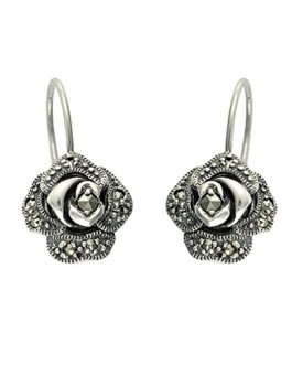 Esse Marcasite Sterling Silver Pave Set Marcasite Victorian Rose Fish Hook Earrings