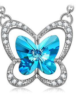 Women Sterling Silver Opal Butterfly Necklace, Gifts for women