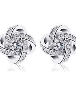 LuckySuen 18K White Gold Plated Sterling Silver Cubic Zirconia Stud Earrings for Women
