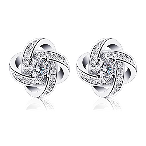 White Gold Plated Sterling Silver Cubic Zirconia Stud Earrings for Women