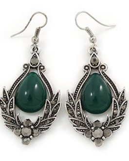 Victorian Style Green Glass, Hematite Crystal Drop Earrings In Silver Tone