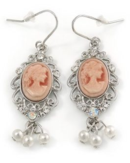 Vintage Inspired Light Pink Cameo with Pearl Bead Drop Earrings In Silver Tone