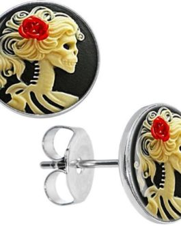 Red Rose Skeleton Cameo Stud Earrings