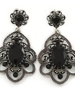 Victorian Style Filigree Black Glass, Crystal Drop Earrings In Antique Silver Tone