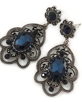 Victorian Style Filigree Montana Blue Glass, Crystal Drop Earrings In Antique Silver Tone – 2 inches L