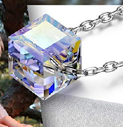 Women Sterling Silver Cube Crystal Pendant Necklace, Gifts for women