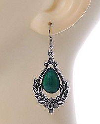 Women Earrings, Personalized gifts Women Earrings Green Glass Crystal Drop earrings