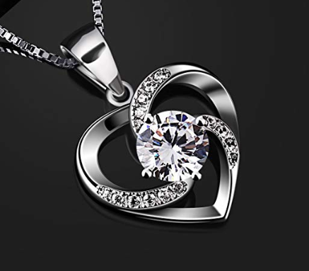 Women Sterling Silver Heart Crystal Pendant Necklace, Gifts for women