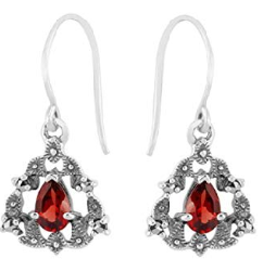 Sterling Silver 0.4ct Mozambique Garnet Victorian Style Drop Earrings