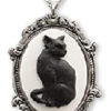 Black Cat Pendant, Halloween Necklace Jewelry