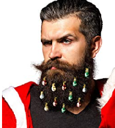 Beardaments Beard Ornaments, 12pc Colorful Christmas Facial Hair Baubles