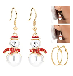 Snowman Xmas Earrings with crystals