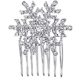 Xmas, Winter Snowflake Hair Side Comb Clear Crystal