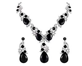 BriLove Women's Wedding Bridal Crystal Teardrop Necklace & Earrings Set